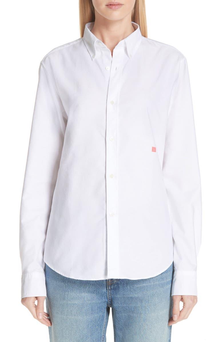 ACNE STUDIOS Face Patch Shirt, Main, color, 100