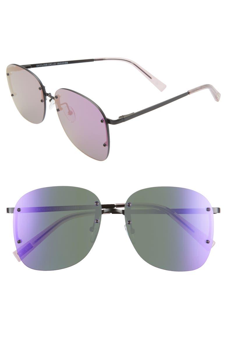 LE SPECS Skyline 59mm Rimless Sunglasses, Main, color, MATTE BLACK/ VIOLET MIRROR