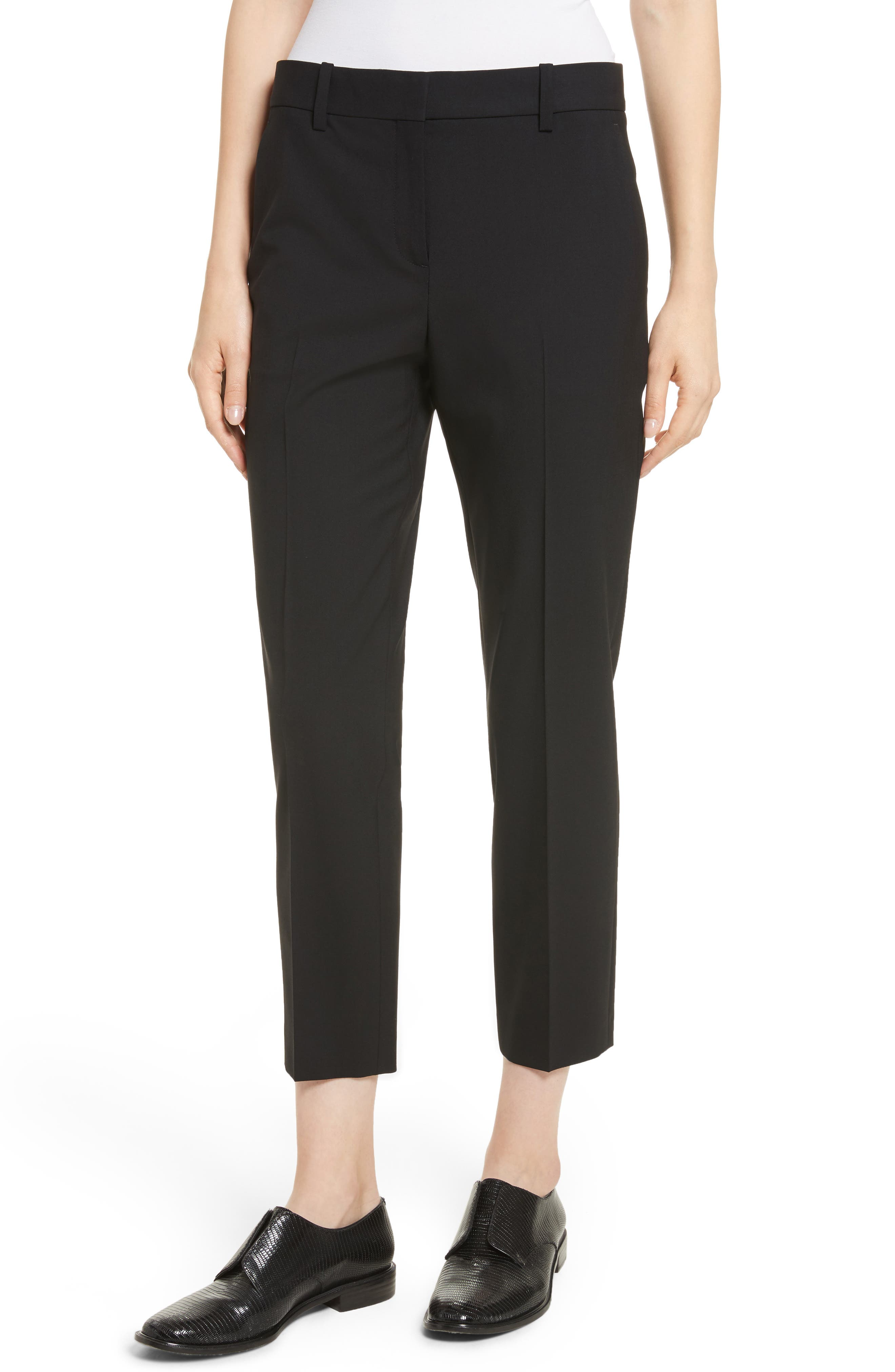 Treeca 2 Good Wool Crop Suit Pants, Main, color, BLACK