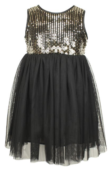 Image of Popatu Black Metallic Tulle Dress