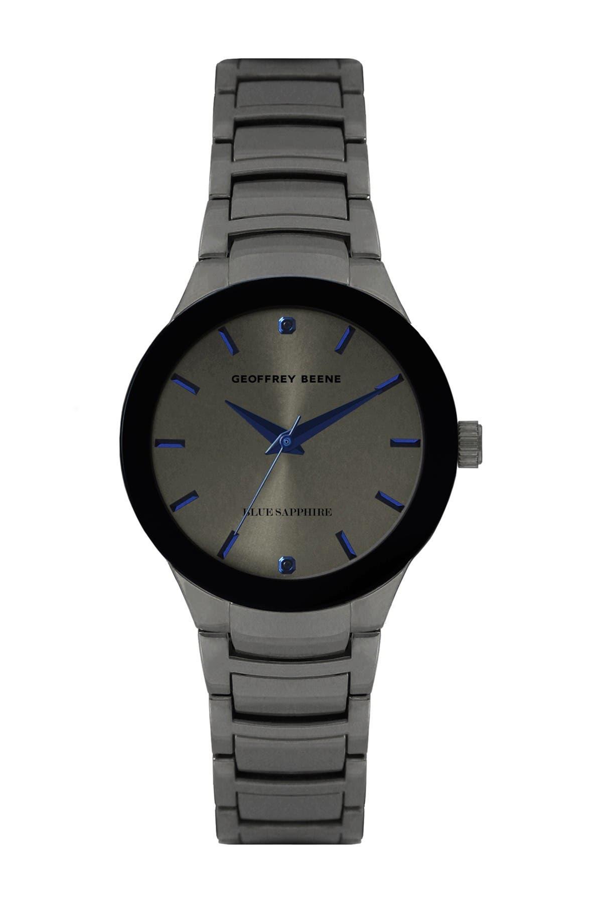 Image of Geoffrey Beene Men's Gunmetal Sapphire Bracelet Watch, 41mm