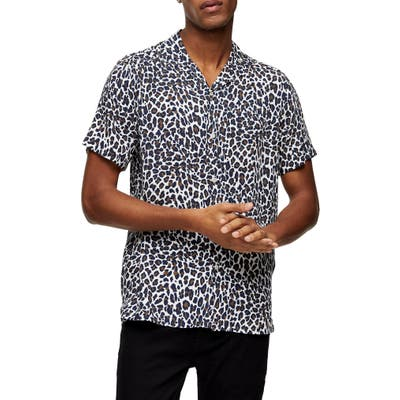 Topman Leopard Print Short Sleeve Button-Up Camp Shirt, Ivory
