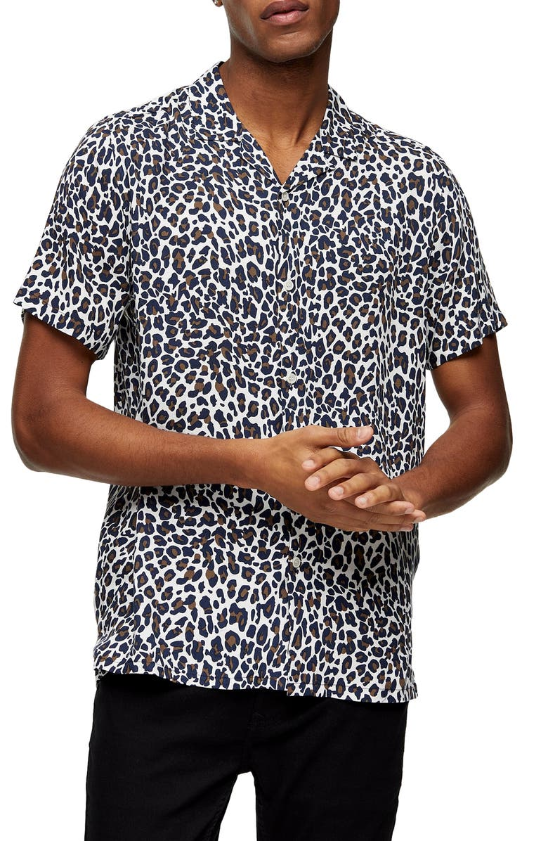 TOPMAN Leopard Print Short Sleeve Button-Up Camp Shirt, Main, color, CREAM MULTI