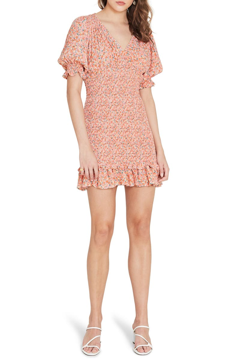 FAITHFULL THE BRAND Margherita Smocked Minidress, Main, color, MATHIOLA FLORAL PRINT - PINK