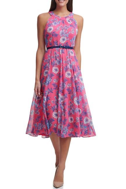 Image of Tommy Hilfiger Sleeveless Delphos Garden Chiffon Belted Halter Midi Dress