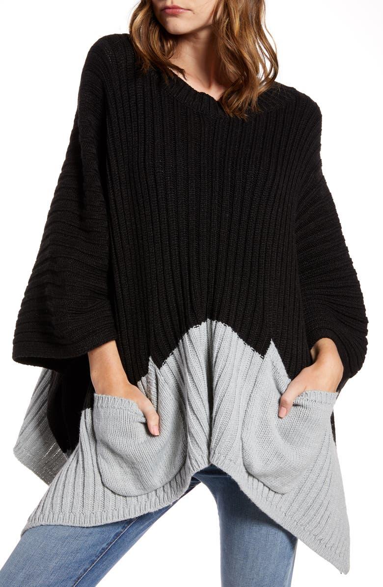 TREASURE & BOND Rib Knit Poncho, Main, color, BLACK COMBO