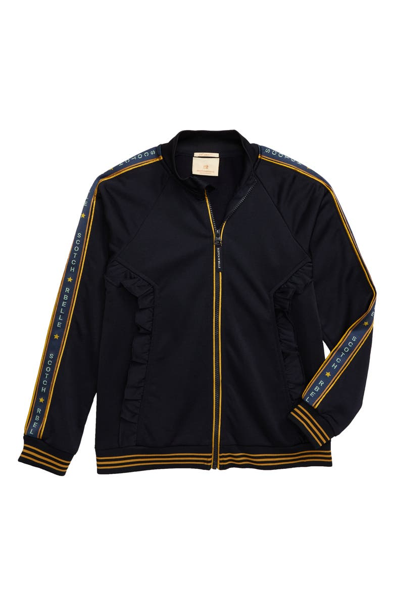 SCOTCH R'BELLE Ruffle Track Jacket, Main, color, 002 NIGHT