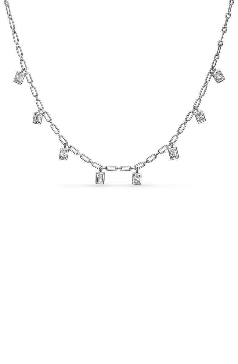 LESA MICHELE Baguette Charm Necklace, Main, color, SILVER