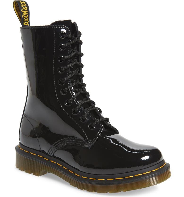 DR. MARTENS 1490 Lace-Up Boot, Main, color, BLACK PATENT