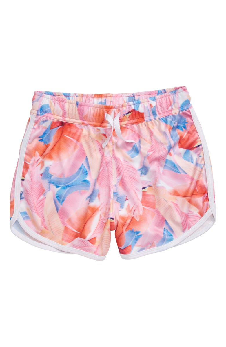 ZELLA GIRL Zephyr Print Shorts, Main, color, CORAL BLAZE PHOTO TROPICAL