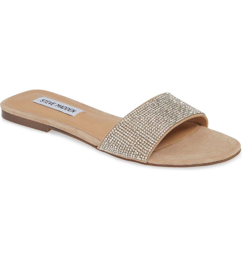 STEVE MADDEN Bev Slide Sandal, Main, color, RHINESTONE