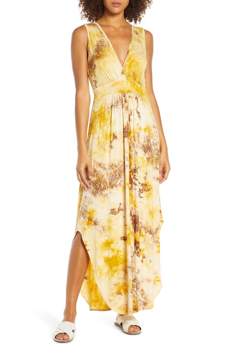 FRAICHE BY J Plunge Dress, Main, color, MUSTARD