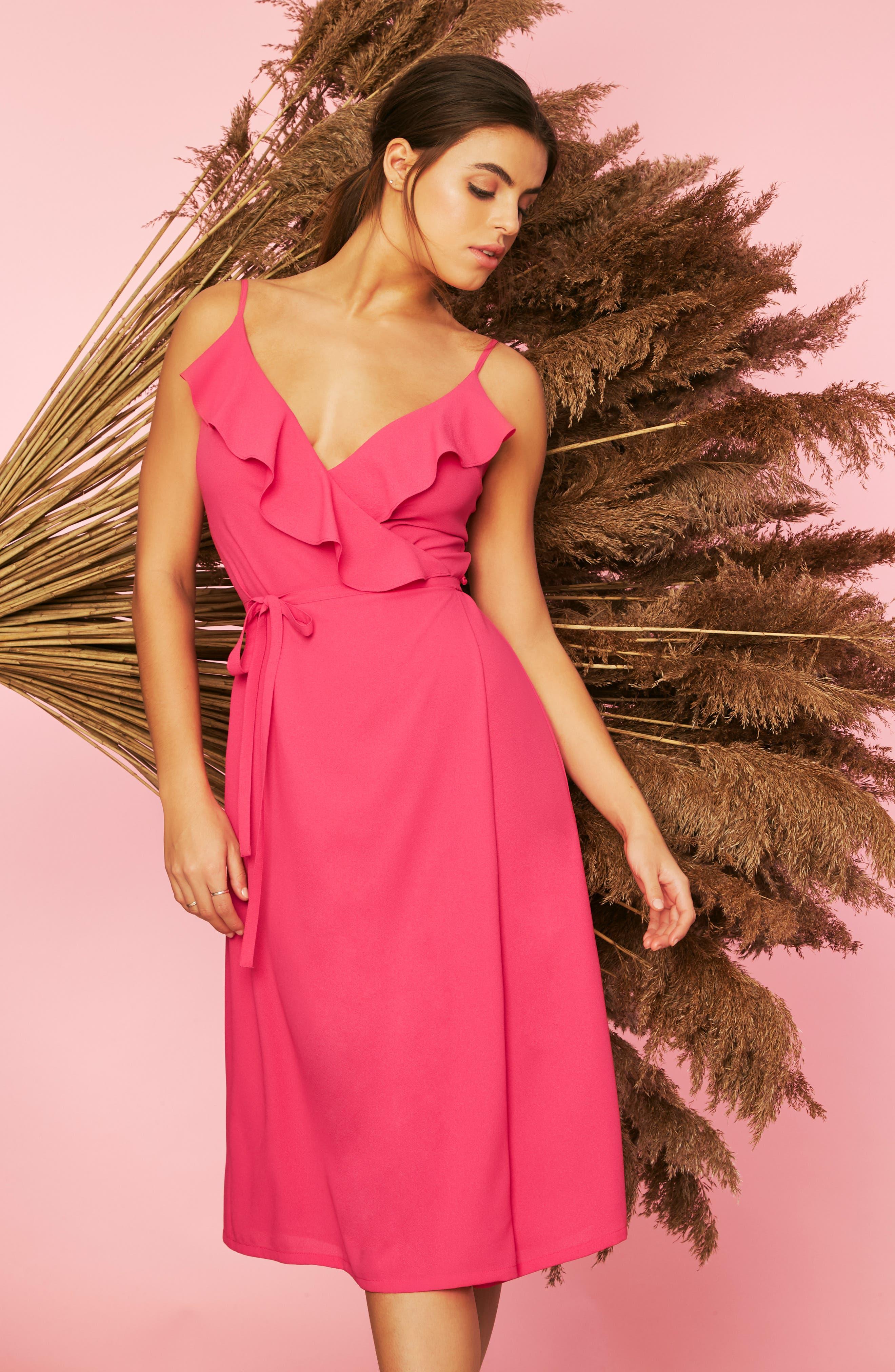 1.state Flounce Detail Wrap Dress, Pink