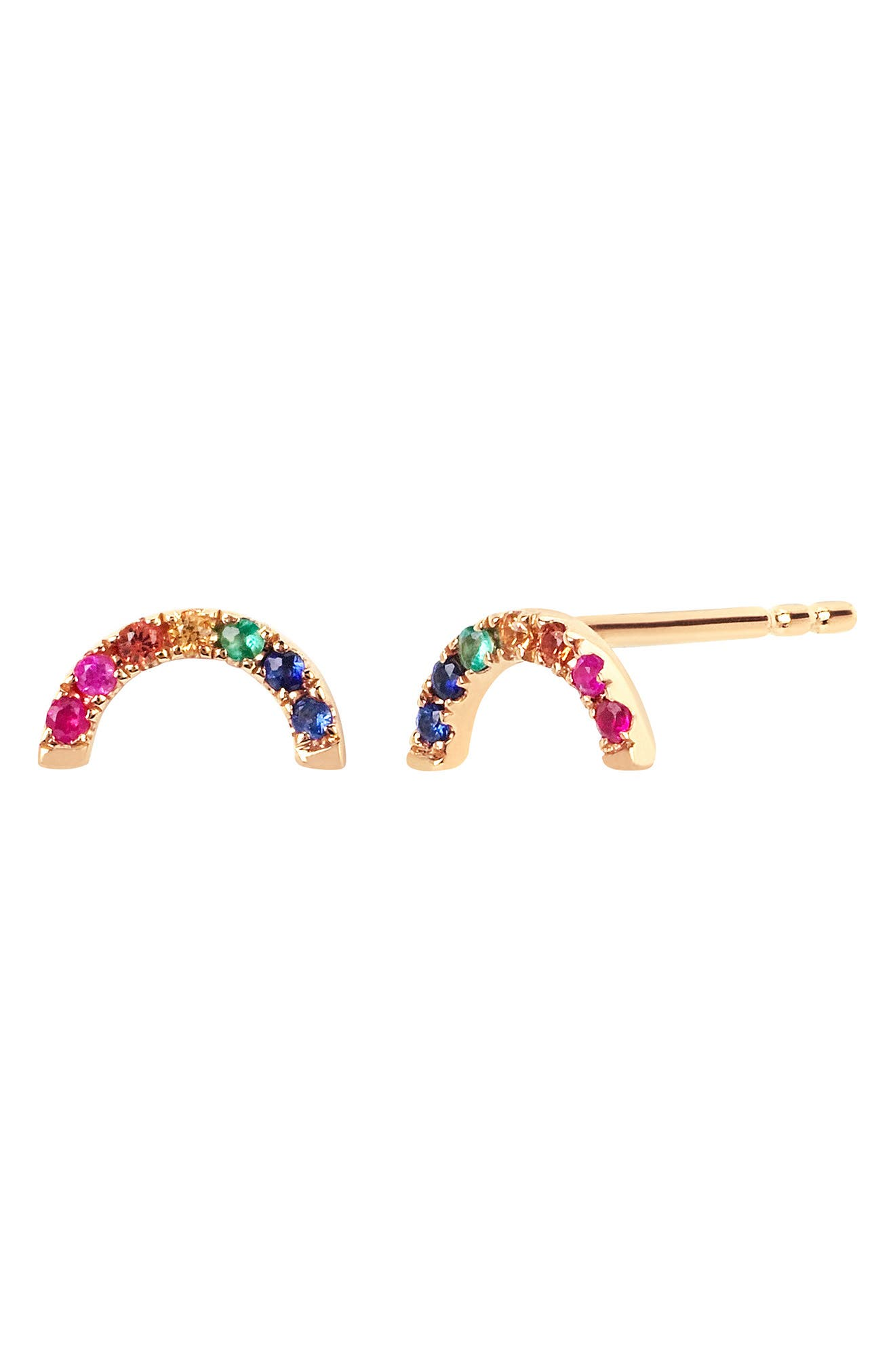 Diamond Rainbow Stud Earrings