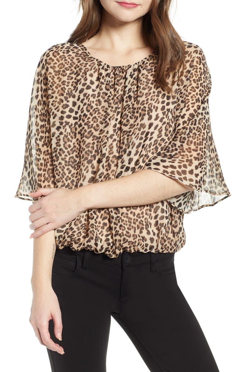 VINCE CAMUTO Leopard Print Blouse, Main, color, 006