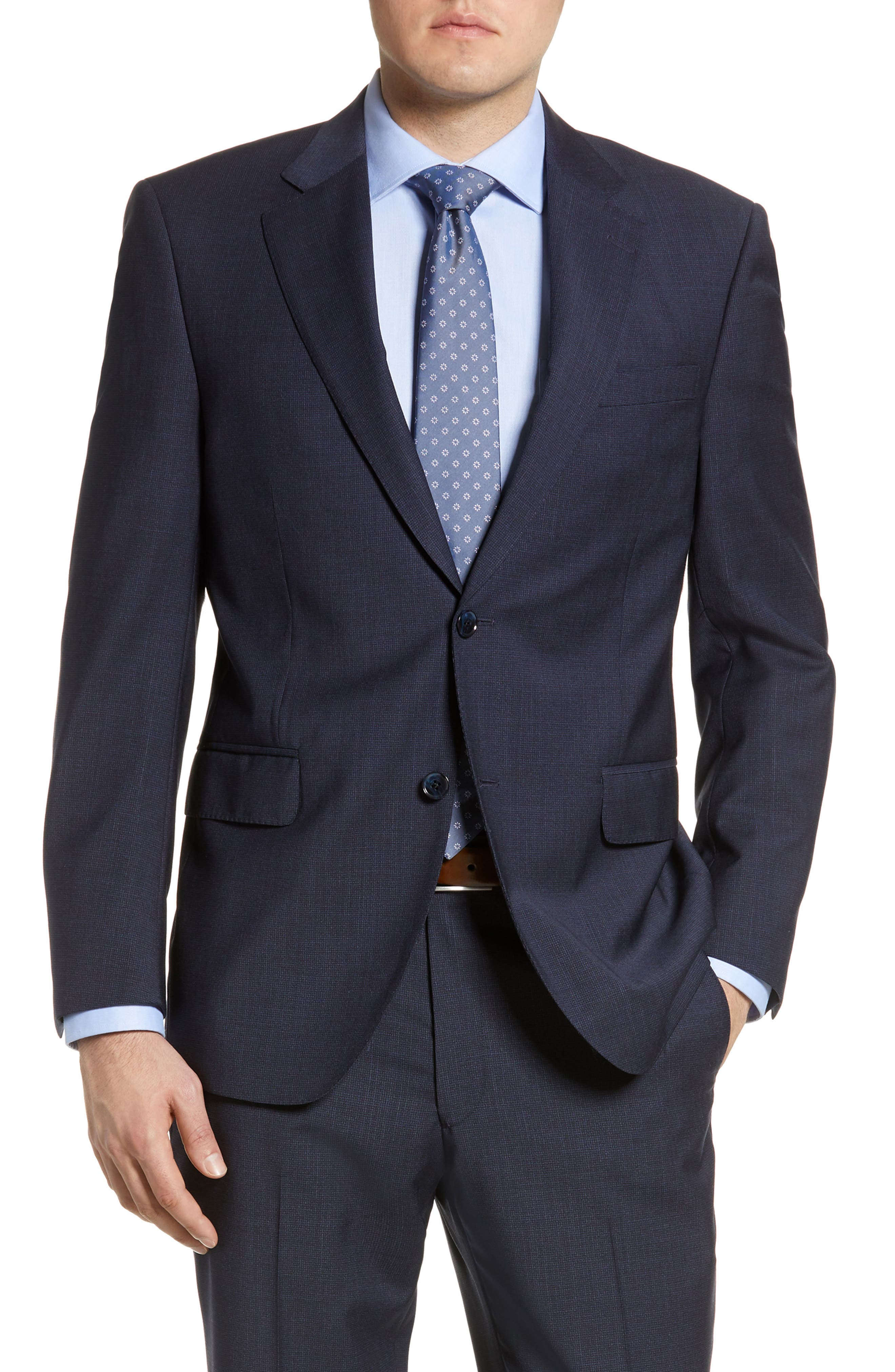 ,                             Flynn Classic Fit Check Wool Suit,                             Alternate thumbnail 6, color,                             NAVY