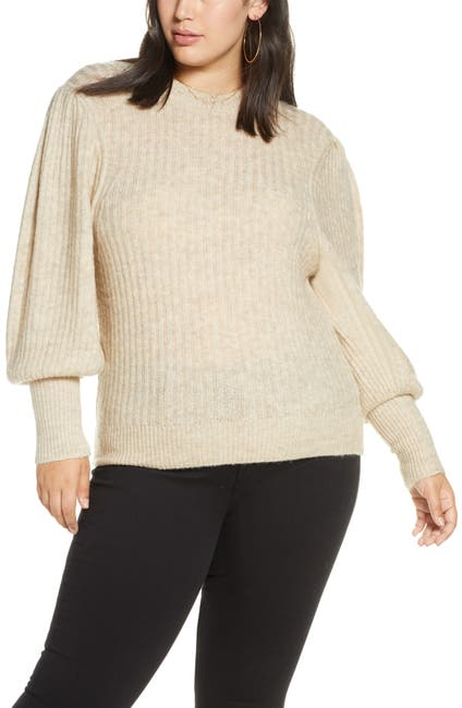 Image of Leith Ribbed Puff Shoulder Sweater