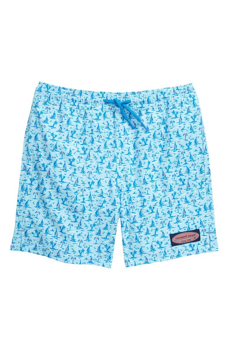 VINEYARD VINES Print Chappy Swim Trunks, Main, color, SEA SPLASH