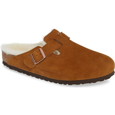 Birkenstock Boston Slip-On With Genuine Shearling Lining, Brown
