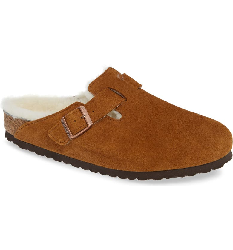 BIRKENSTOCK Boston Slip-On with Genuine Shearling Lining, Main, color, BEIGE