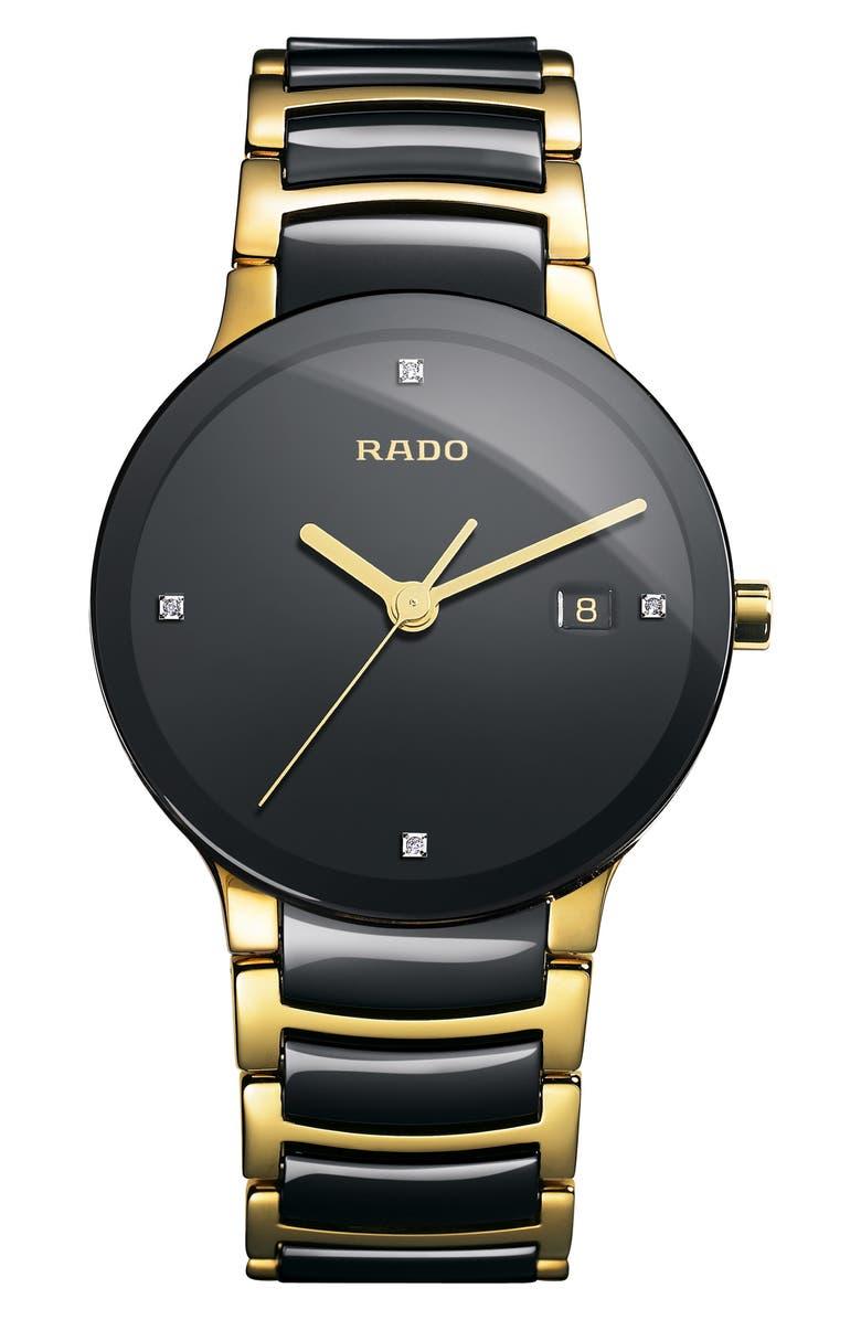 RADO Centrix Diamond Bracelet Watch, 38mm, Main, color, GOLD/ BLACK