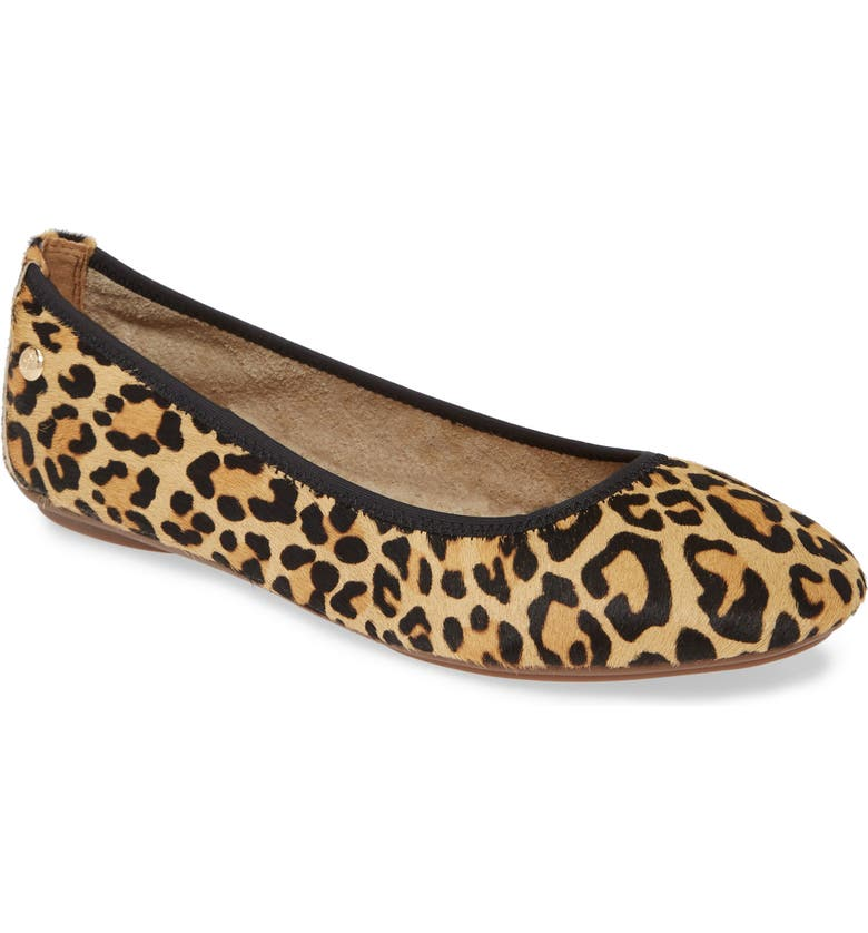 HUSH PUPPIES<SUP>®</SUP> 'Chaste' Genuine Calf Hair Ballet Flat, Main, color, LEOPARD CALF HAIR