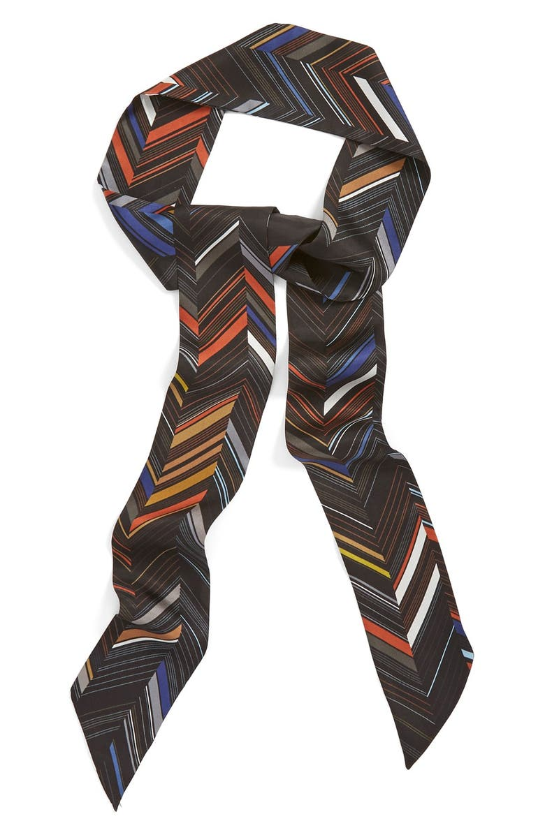 HALOGEN<SUP>®</SUP> Chevron Bayadere Print Silk Skinny Scarf, Main, color, 001