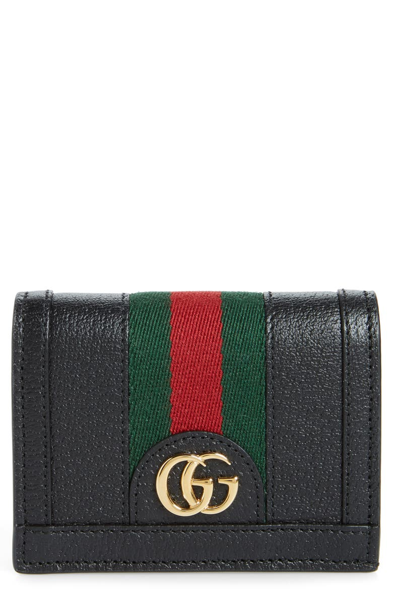 GUCCI Ophidia Leather Bifold Card Case, Main, color, NERO/ VERT RED VERT