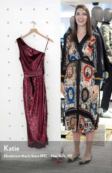 Abinaa One-Shoulder Drape Midi Dress, sales video thumbnail