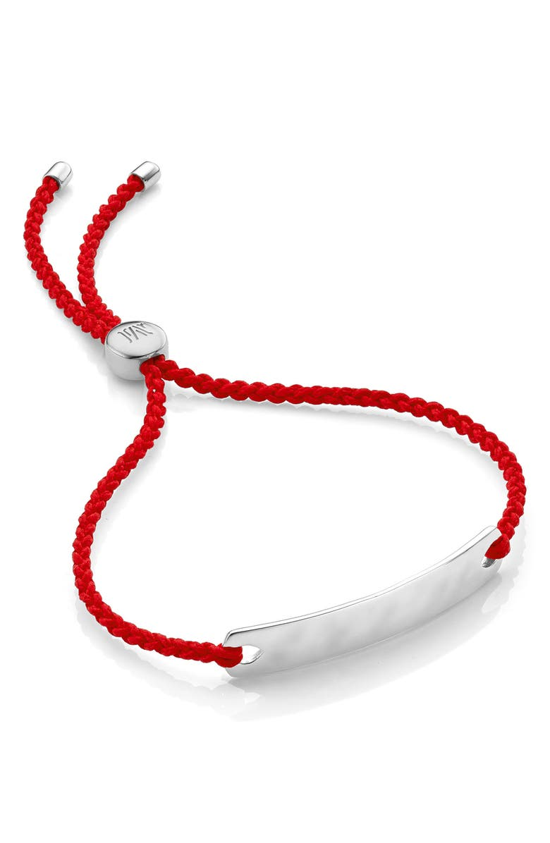 MONICA VINADER Engravable Havana Mini Friendship Bracelet, Main, color, SILVER/ CORAL