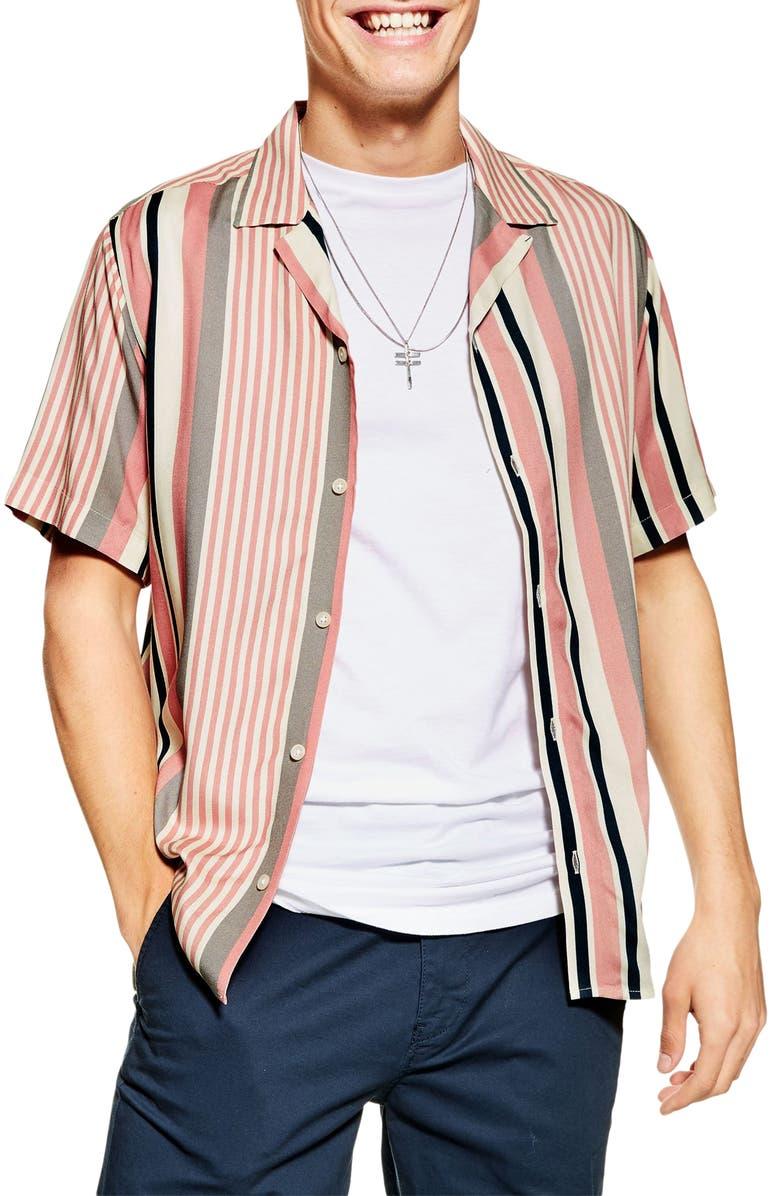 TOPMAN Trim Fit Stripe Short Sleeve Button-Up Camp Shirt, Main, color, PINK MULTI