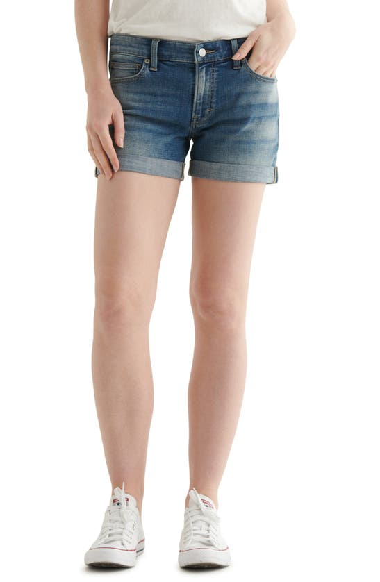 Lucky Brand Ava Cuffed-hem Denim Shorts In Typhoon