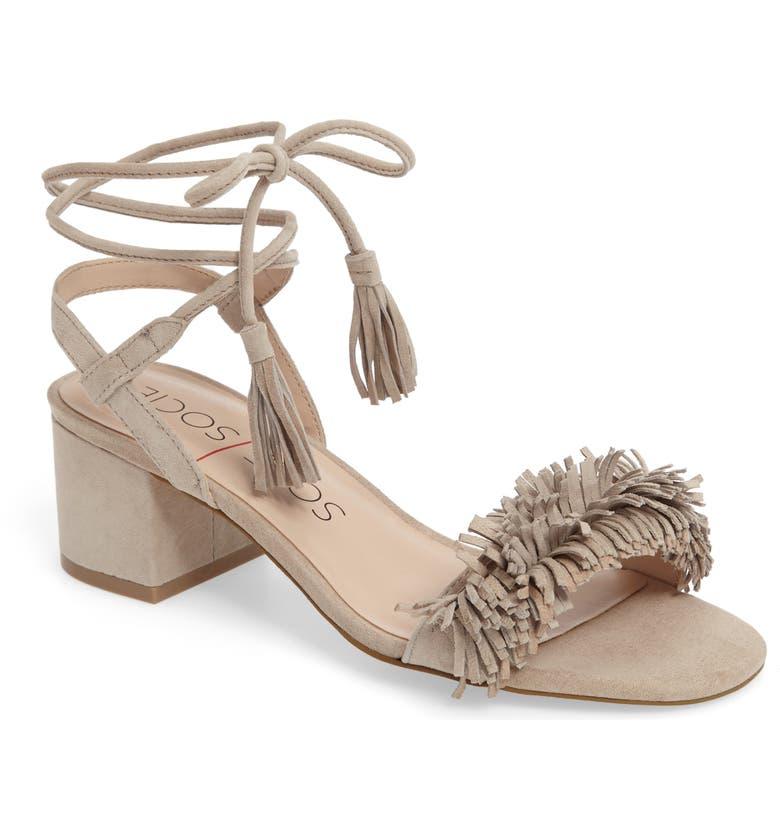SOLE SOCIETY Sera Wraparound Fringe Sandal, Main, color, 200