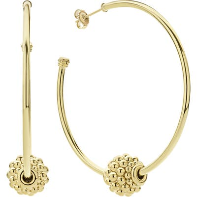 Lagos Caviar Gold Medium Hoop Earrings