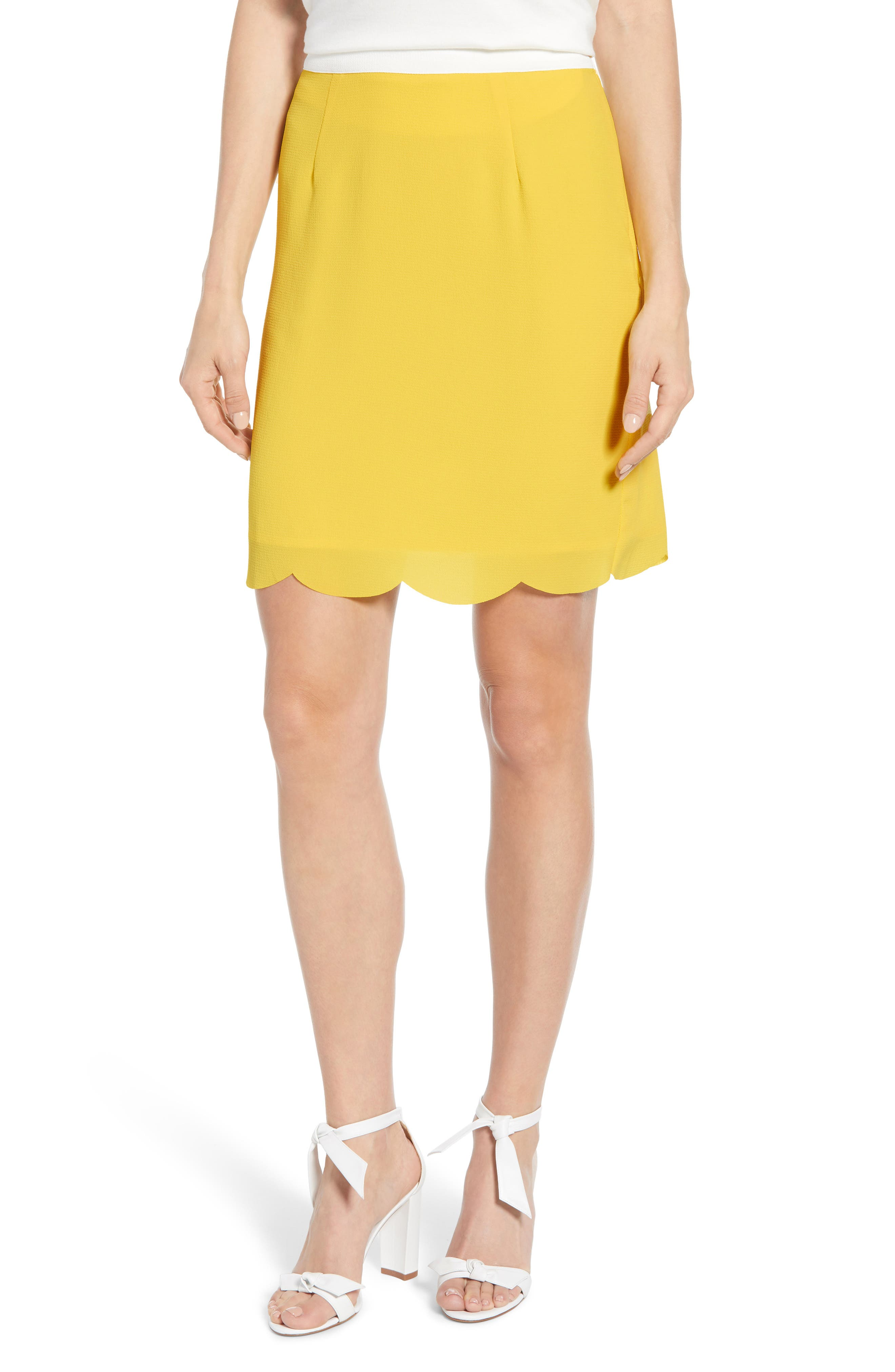 x Living in Yellow Daphne Scallop Hem Skirt, Main, color, YELLOW W/ IVORY