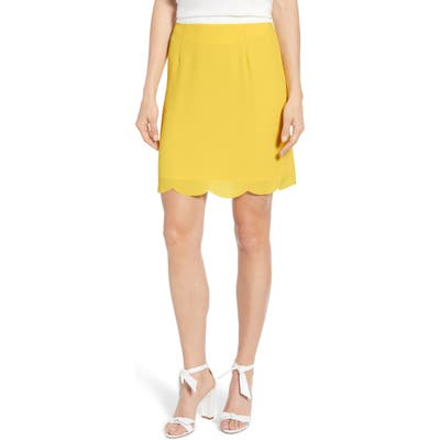 Petite Gibson X Living In Yellow Daphne Scallop Hem Skirt, Yellow (Regular & Petite) (Nordstrom Exclusive)