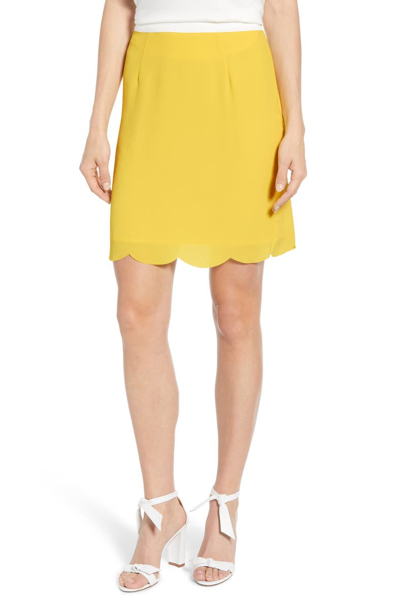 GIBSON x Living in Yellow Daphne Scallop Hem Skirt, Main, color, 741