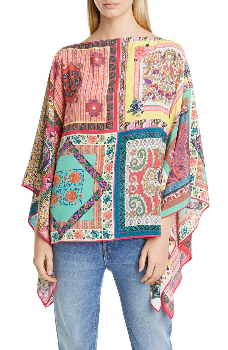 ETRO Multiprint Silk Poncho, Main, color, GREEN