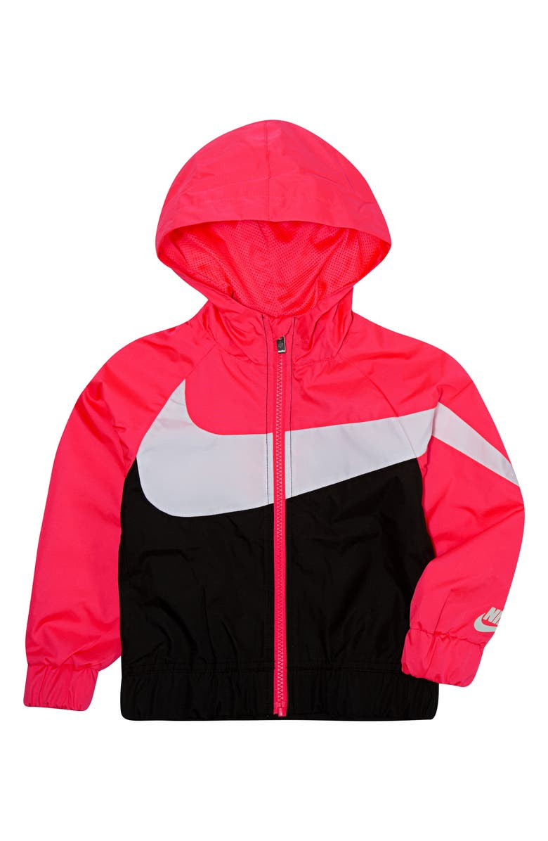 NIKE Swoosh Windrunner Water Resistant Hooded Jacket, Main, color, RACER PINK