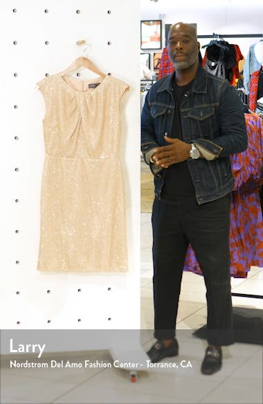 Metallic Knit Cap Sleeve Dress, sales video thumbnail