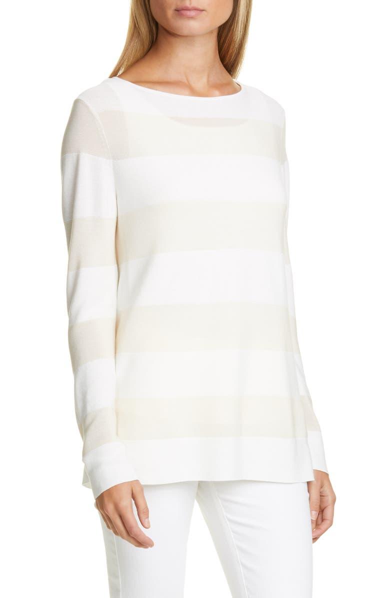 LAFAYETTE 148 NEW YORK Boat Neck Stripe Sweater, Main, color, CLOUD MULTI