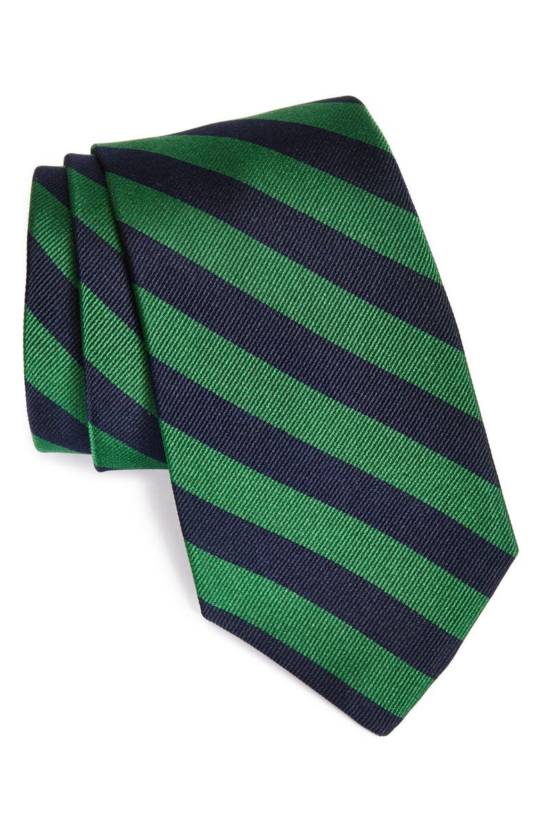 GITMAN Stripe Silk Tie, Main, color, GREEN
