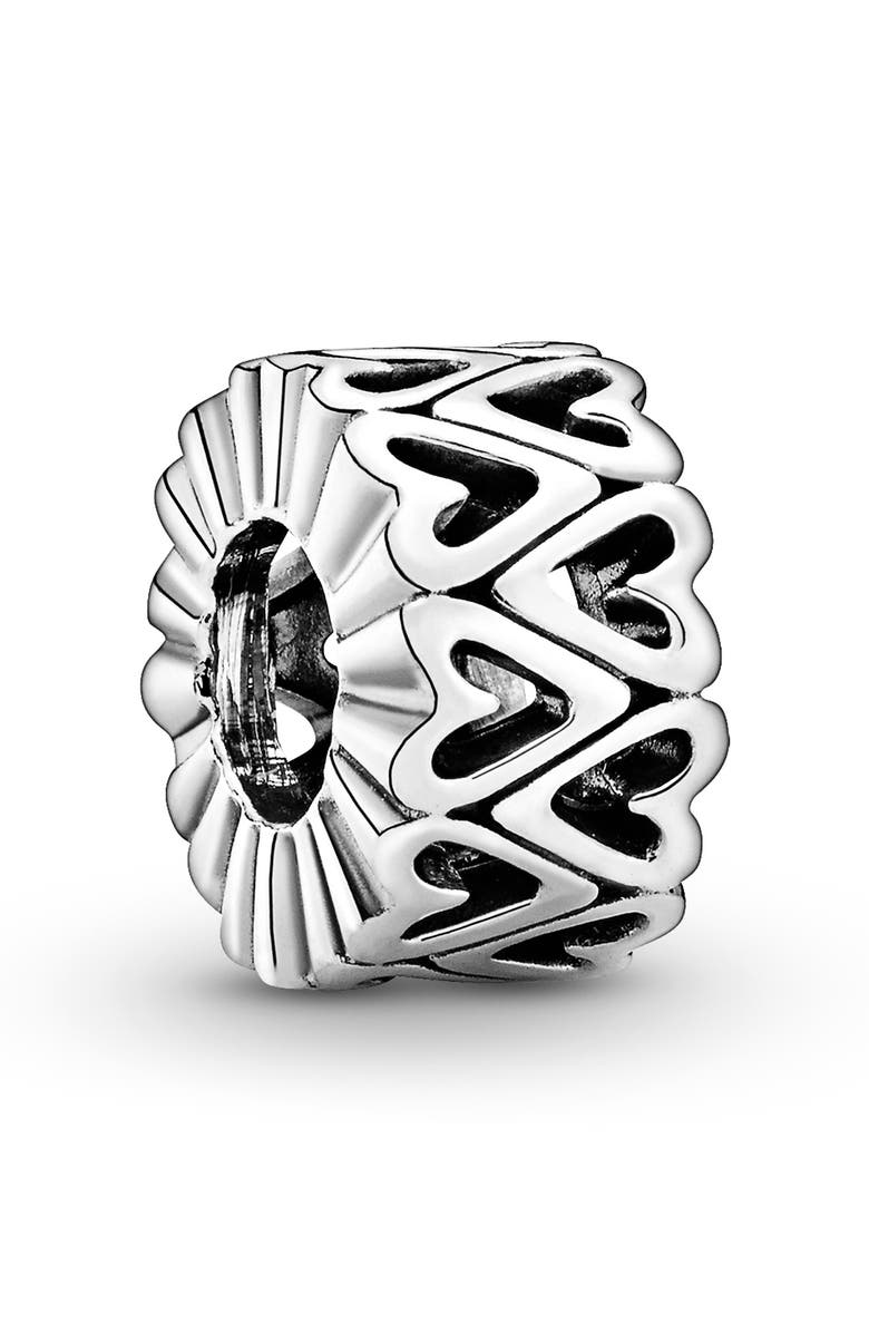 PANDORA Openwork Freehand Heart Spacer Charm, Main, color, SILVER