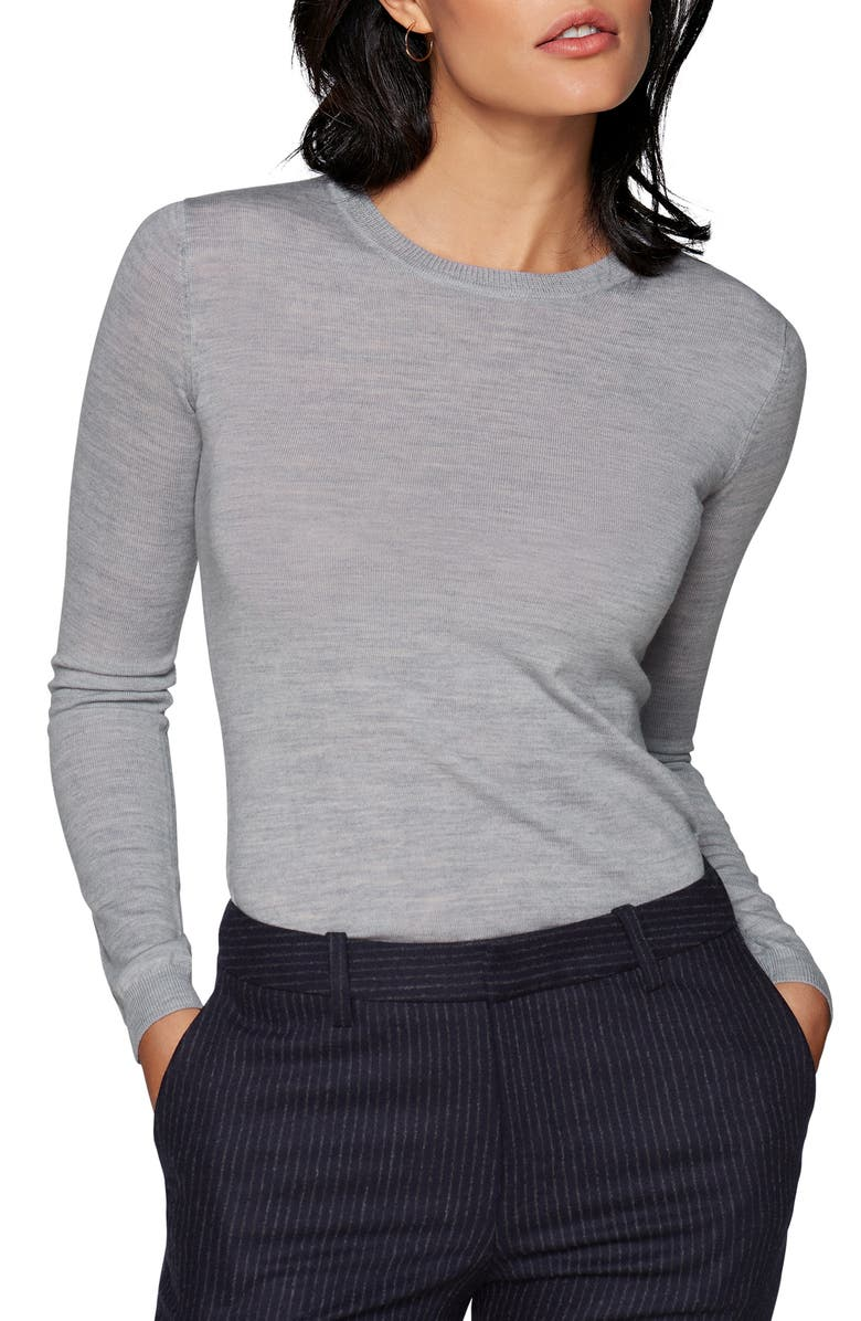SUISTUDIO Merino Wool Sweater, Main, color, LIGHT GREY