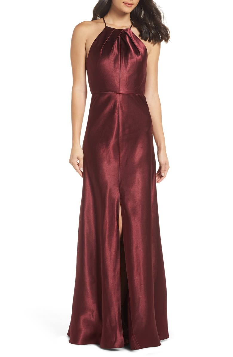 JENNY YOO Cameron Halter Neck Satin Back Gown, Main, color, HIBISCUS
