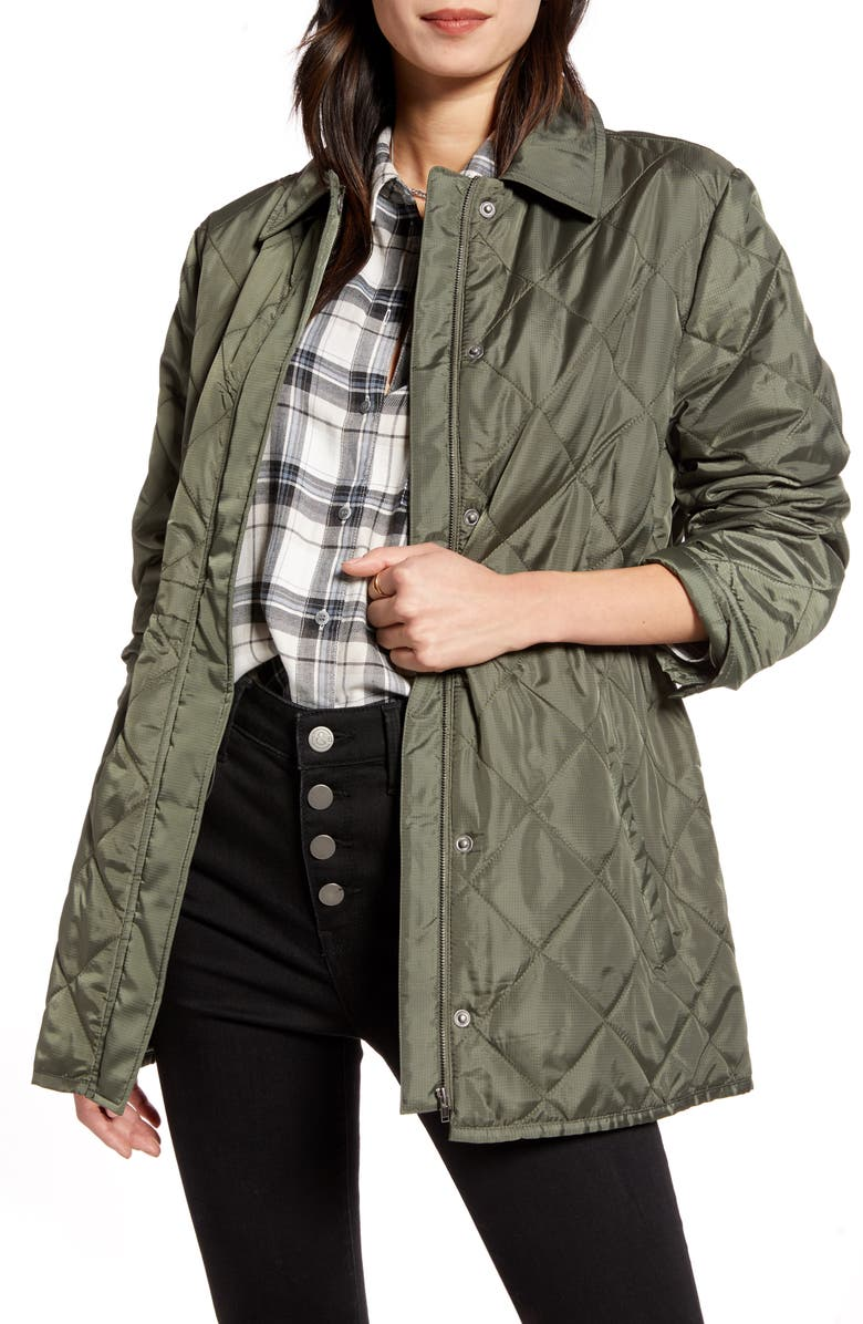 TREASURE & BOND Quilted Barn Jacket, Main, color, OLIVE SARMA