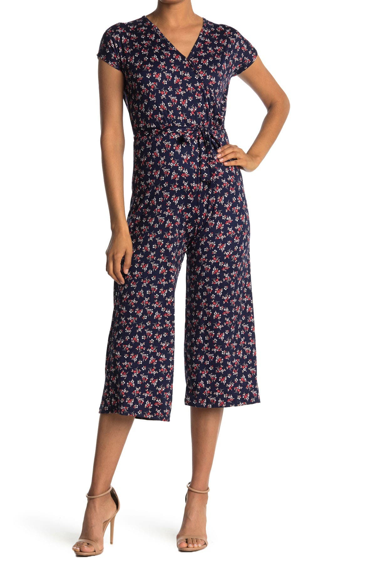 Image of Velvet Torch Cropped Ditsy Print Knit Jumpsuit