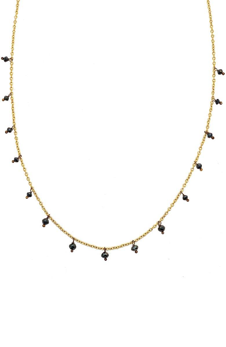 SETHI COUTURE Black Diamond Drop Necklace, Main, color, YELLOW GOLD/ DIAMOND