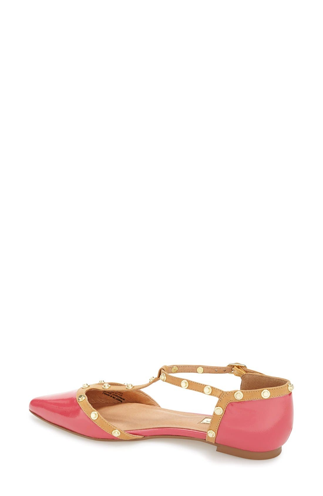 ,                             'Olson' Pointy Toe Studded T-Strap Flat,                             Alternate thumbnail 70, color,                             650