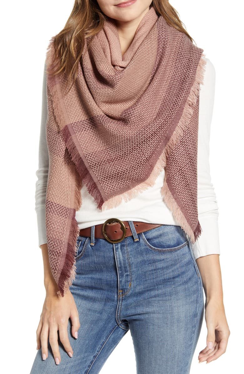 TREASURE & BOND Basket Weave Scarf, Main, color, PINK COMBO